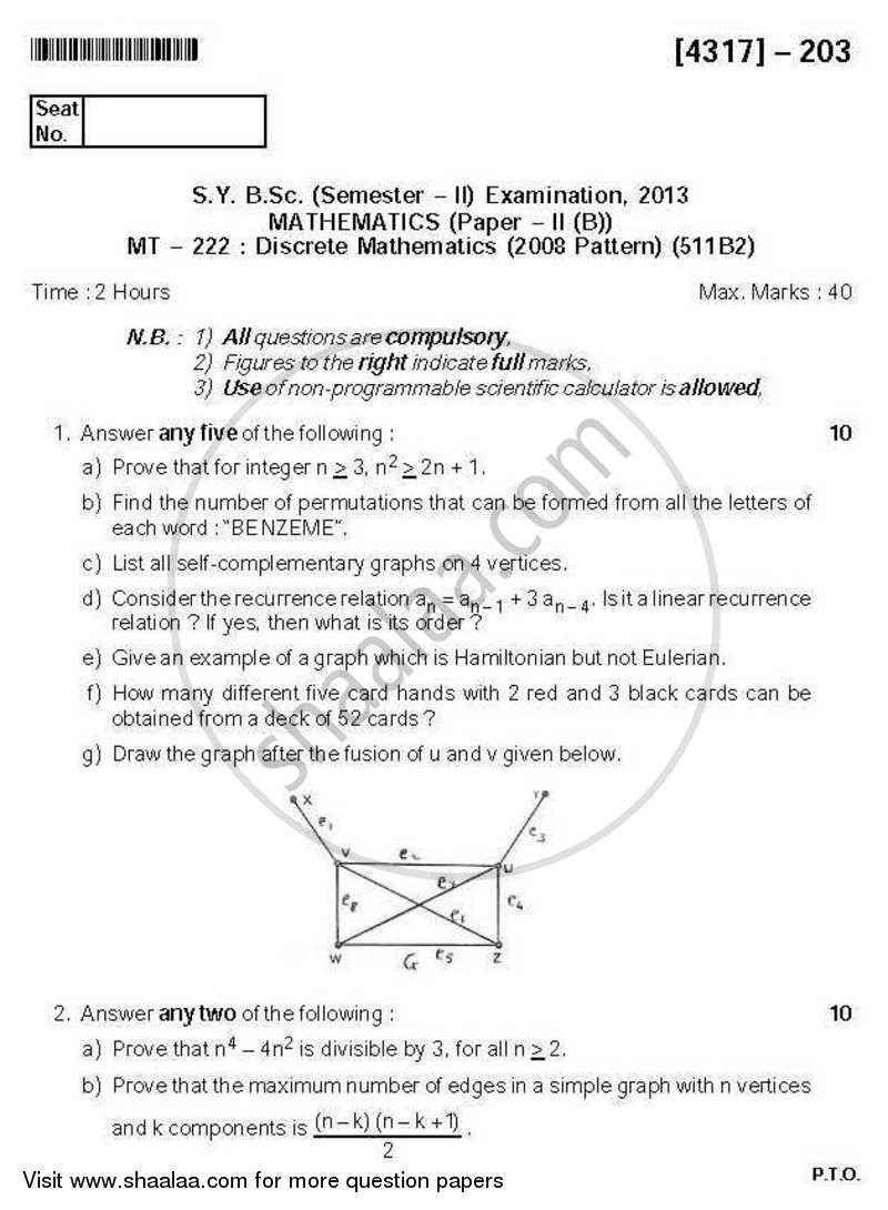 Question Paper - Discrete Mathematics 2013 - 2014 - B.Sc. - Semester 4 (SYBSc) - University of Pune