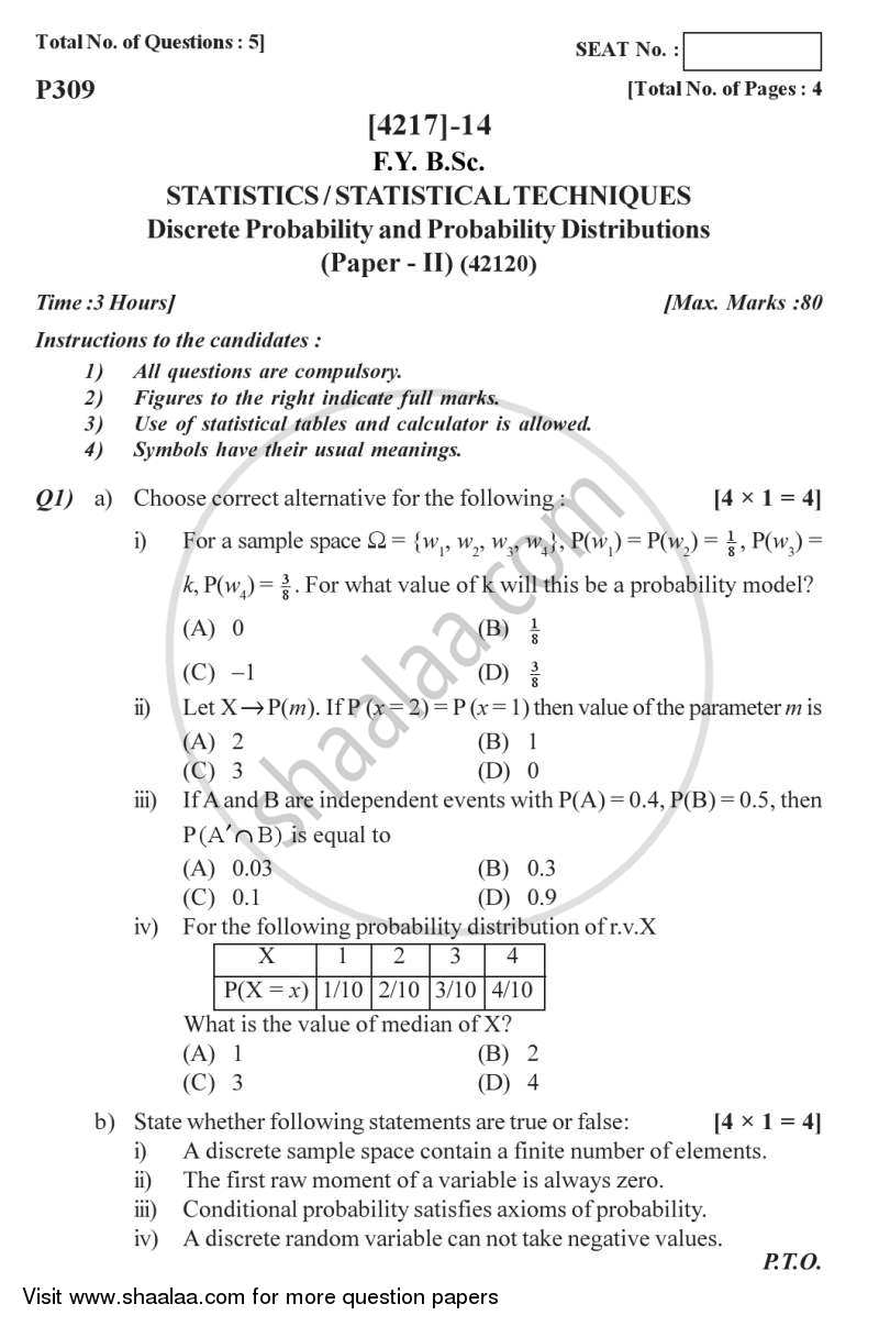 Question Paper - Discrete Probability and Probability Distributions 2012 - 2013 - B.Sc. - Semester 2 (FYBSc) - University of Pune