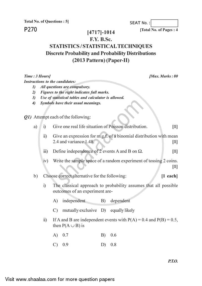 Discrete Probability and Probability Distributions 2014-2015 - B.Sc. - Semester 2 (FYBSc) - University of Pune question paper with PDF download