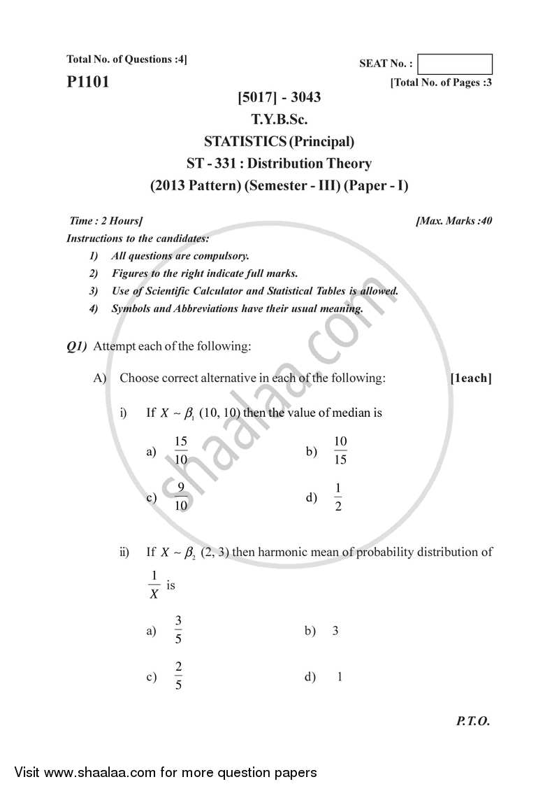 Distribution Theory 1 2016-2017 - B.Sc. - Semester 5 (TYBSc) - University of Pune question paper with PDF download