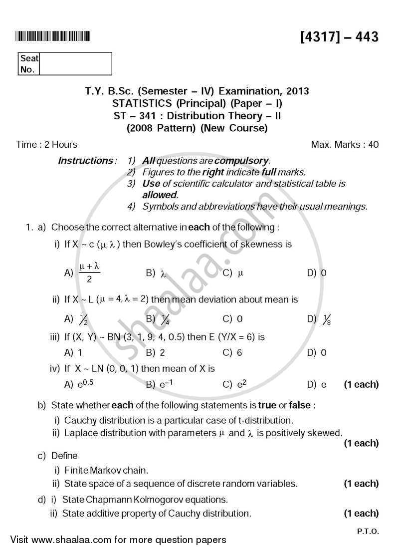 Question Paper - Distribution Theory 2 2013 - 2014 - B.Sc. - Semester 6 (TYBSc) - University of Pune