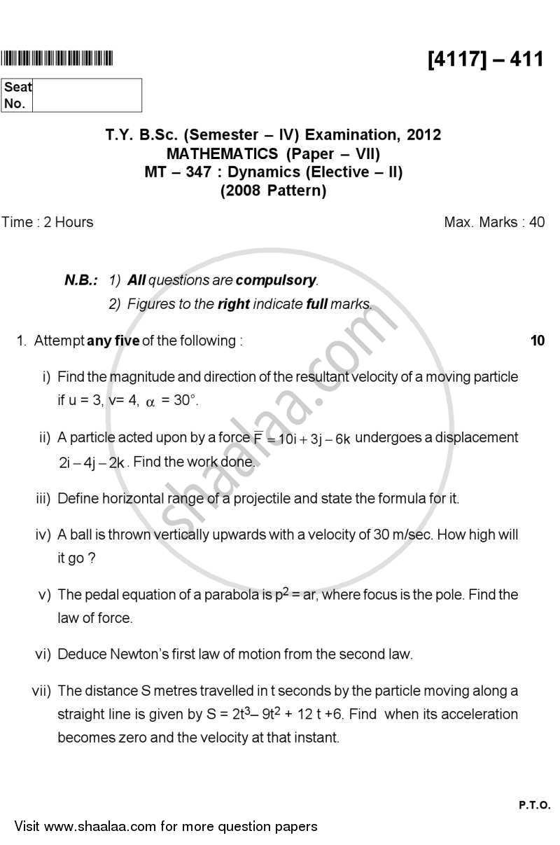 Question Paper - Dynamics 2012 - 2013 - B.Sc. - Semester 6 (TYBSc) - University of Pune