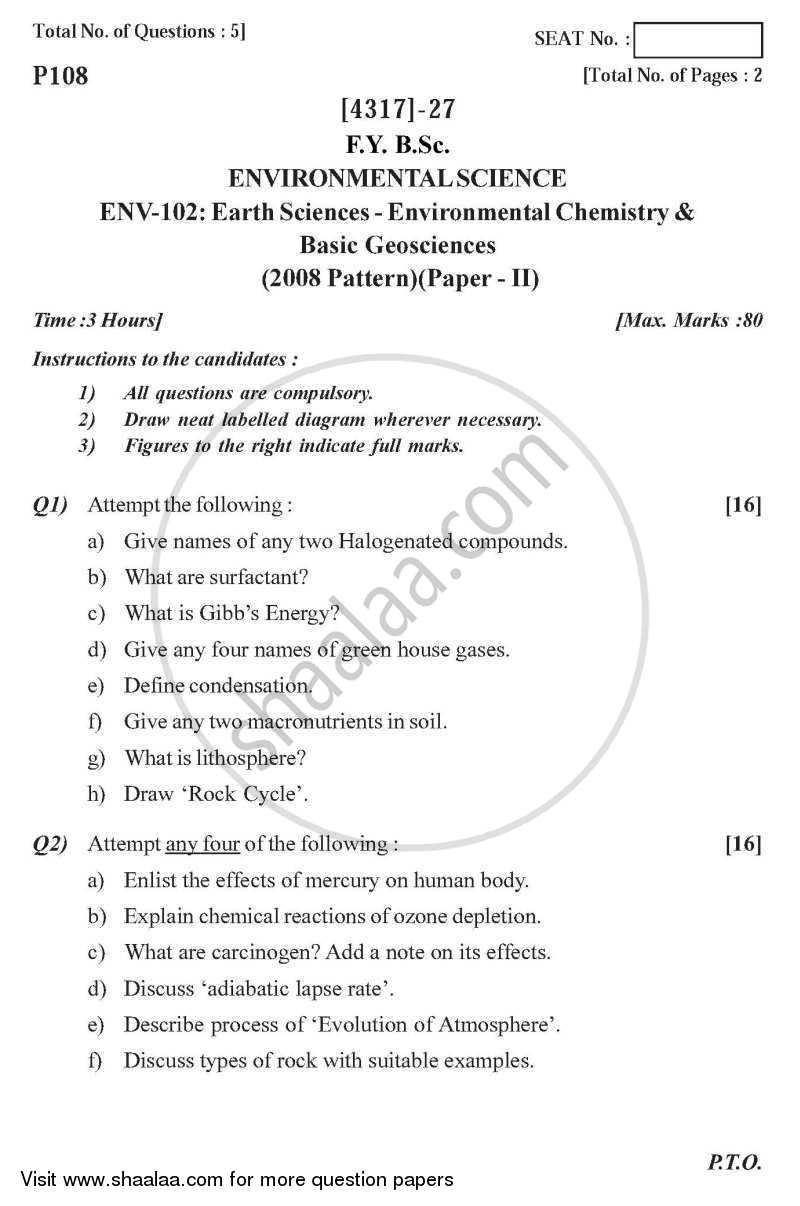 Question Paper - Earth Sciences - Environmental Chemistry and Basic Geosciences 2013 - 2014 - B.Sc. - Semester 2 (FYBSc) - University of Pune