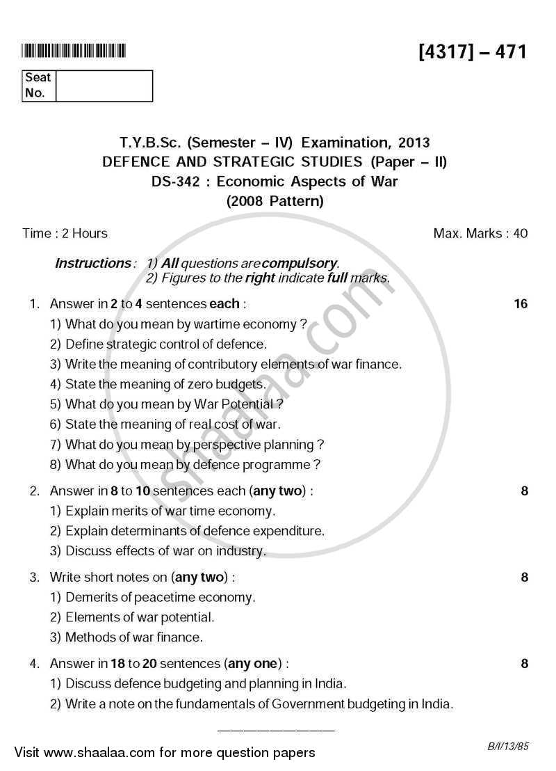 Economic Aspects of War 2013-2014 - B.Sc. - Semester 6 (TYBSc) - University of Pune question paper with PDF download