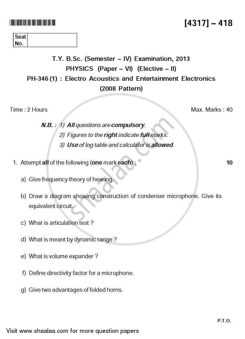 Electro Acoustics and Entertainment Electronics 2013-2014 - B.Sc. - Semester 6 (TYBSc) - University of Pune question paper with PDF download
