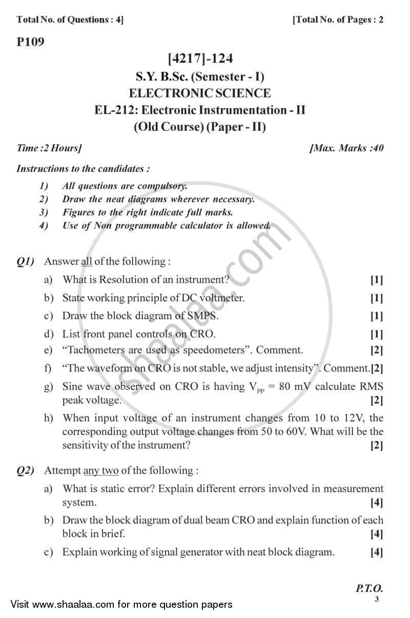 Question Paper - Electronic Instrumentation 2012 - 2013 - B.Sc. - Semester 3 (SYBSc) - University of Pune