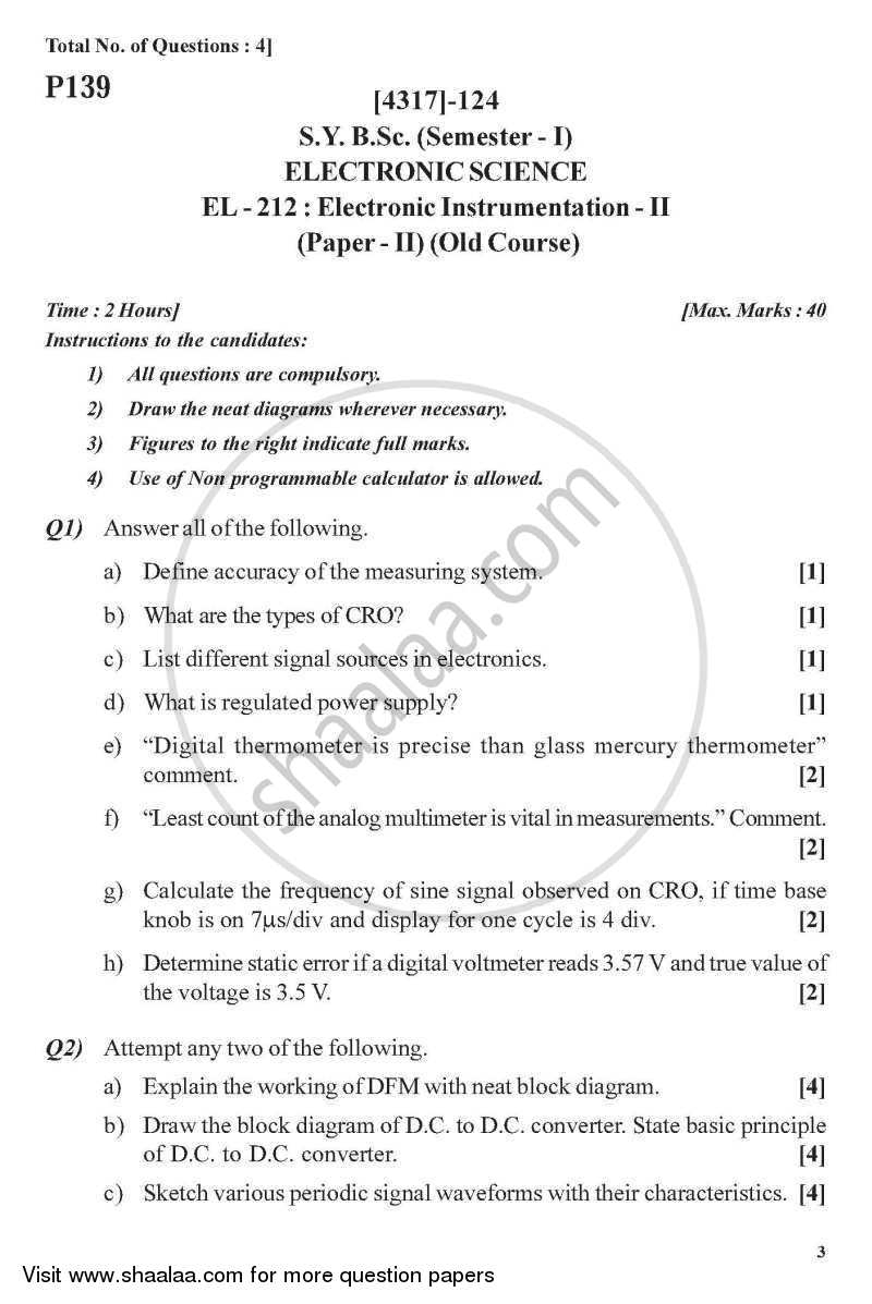 Question Paper - Electronic Instrumentation 2013 - 2014 - B.Sc. - Semester 3 (SYBSc) - University of Pune