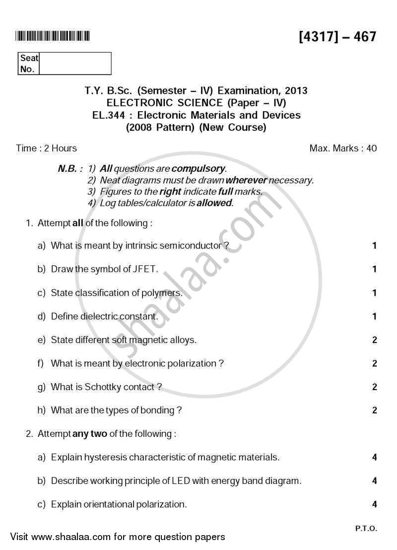 Question Paper - Electronic Materials and Devices 2013 - 2014 - B.Sc. - Semester 6 (TYBSc) - University of Pune