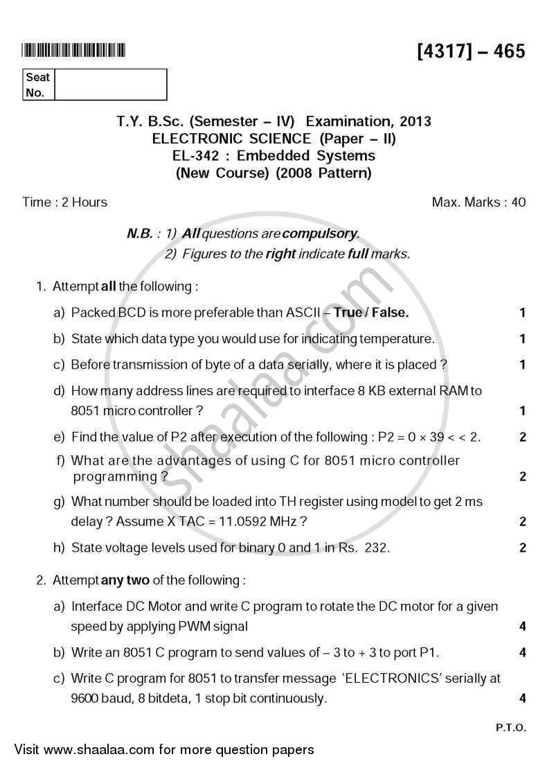 Question Paper - Embedded Systems 2013 - 2014 - B.Sc. - Semester 6 (TYBSc) - University of Pune