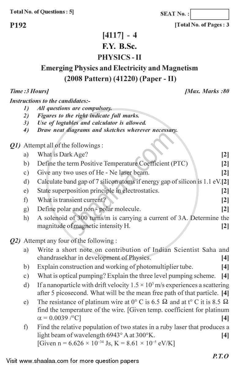 Question Paper - Emerging Physics, Electricity and Magnetism 2012 - 2013 - B.Sc. - Semester 2 (FYBSc) - University of Pune