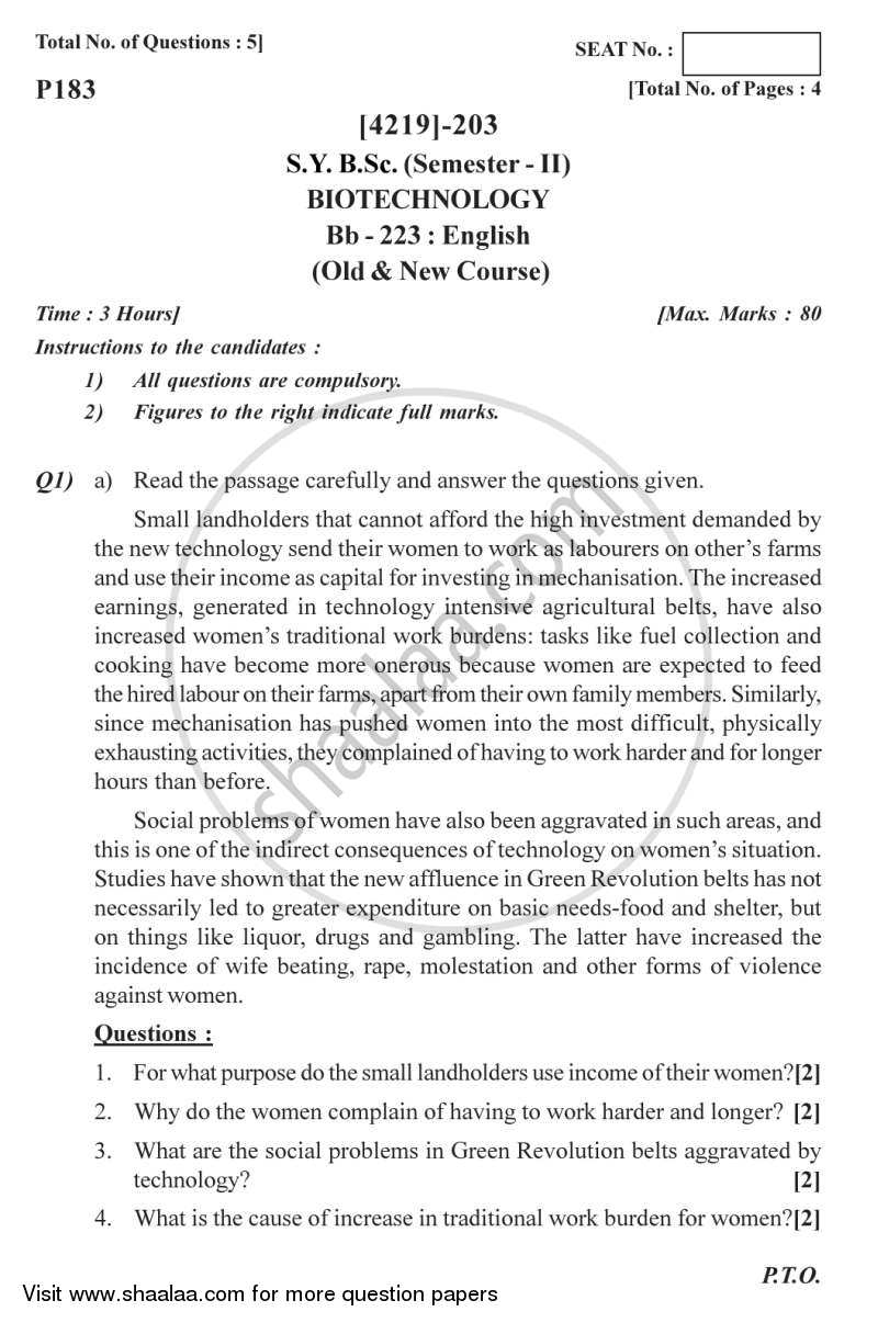 Question Paper - English 2012 - 2013 - B.Sc. - Semester 4 (SYBSc) - University of Pune