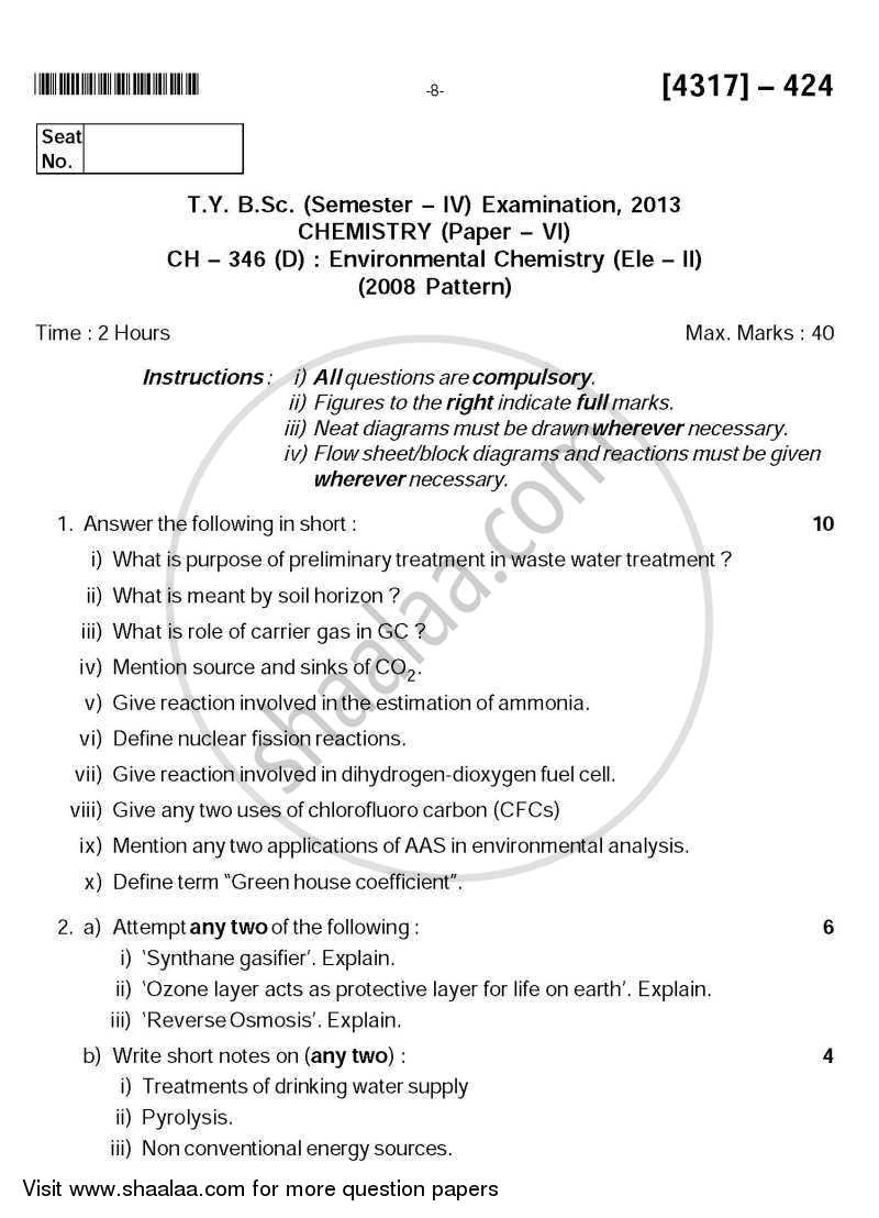 Question Paper - Environmental Chemistry 2013 - 2014 - B.Sc. - Semester 6 (TYBSc) - University of Pune
