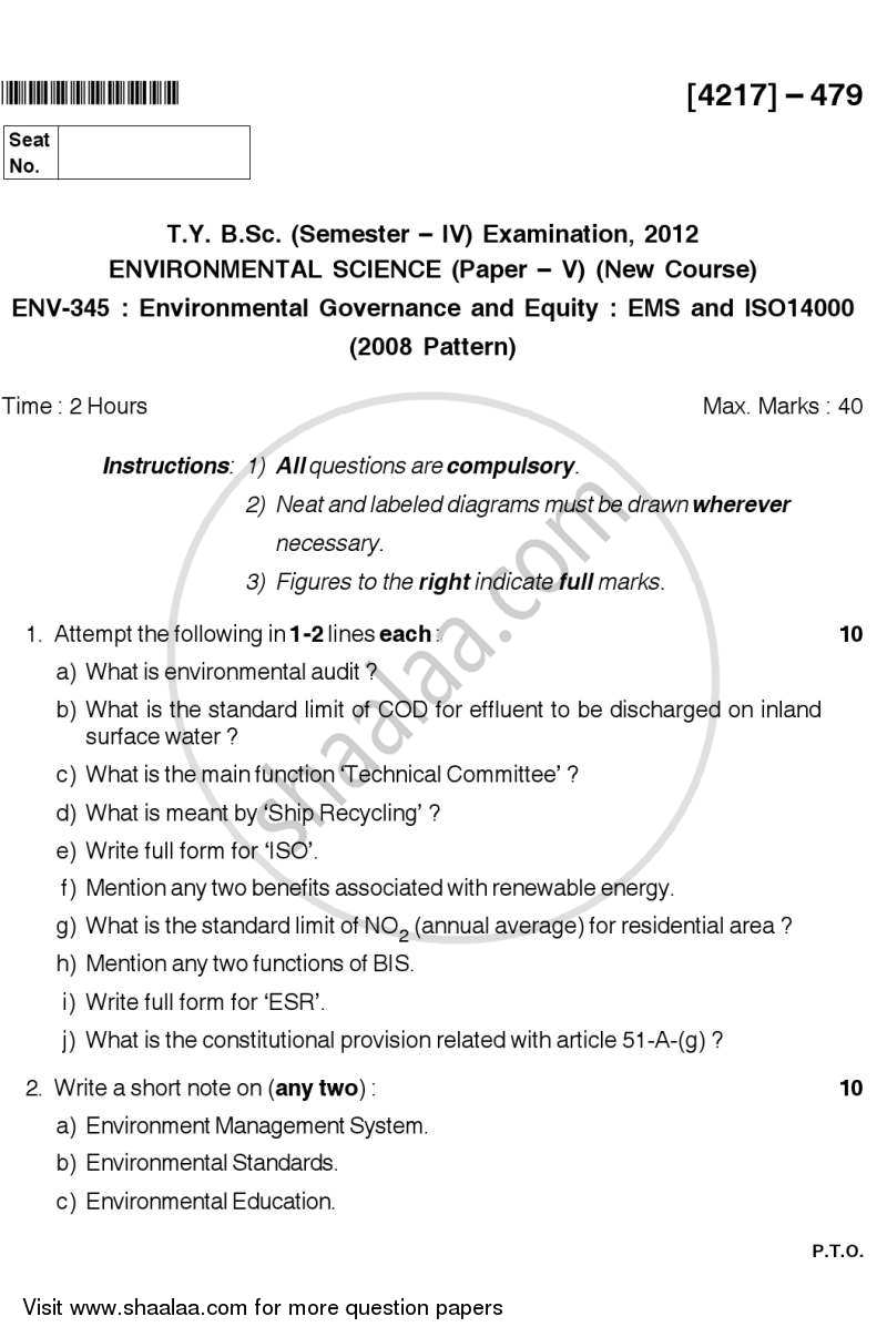 Question Paper - Environmental Governance and Equity - EMS, ISO 14000 2012 - 2013 - B.Sc. - Semester 6 (TYBSc) - University of Pune