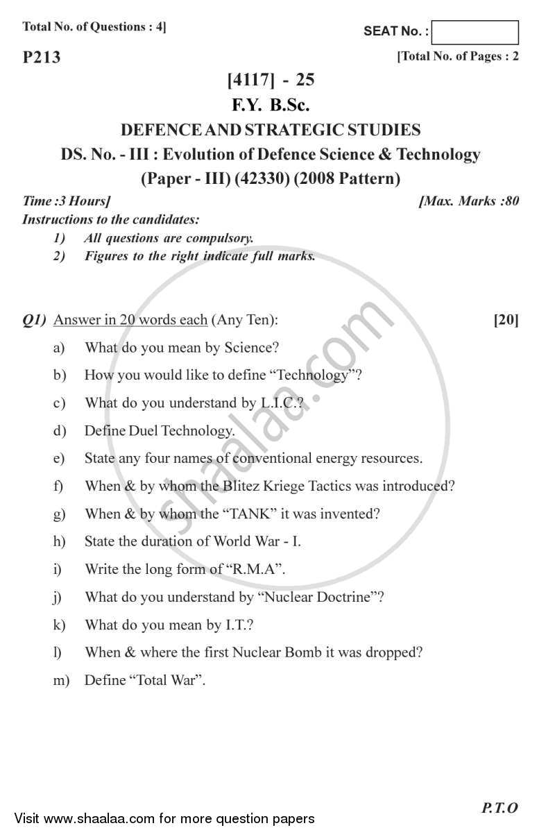 Question Paper - Evolution of Defence Science and Technology 2012 - 2013 - B.Sc. - Semester 2 (FYBSc) - University of Pune