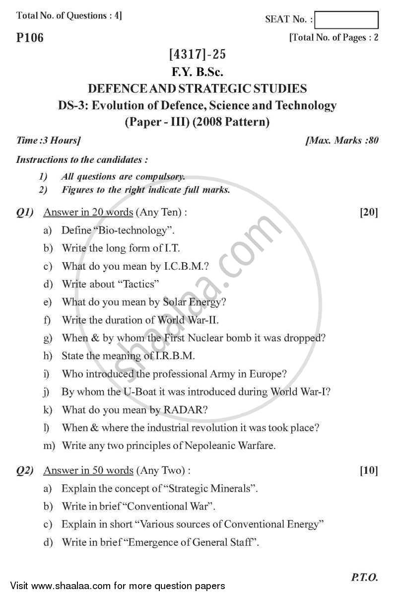Question Paper - Evolution of Defence Science and Technology 2013 - 2014 - B.Sc. - Semester 2 (FYBSc) - University of Pune