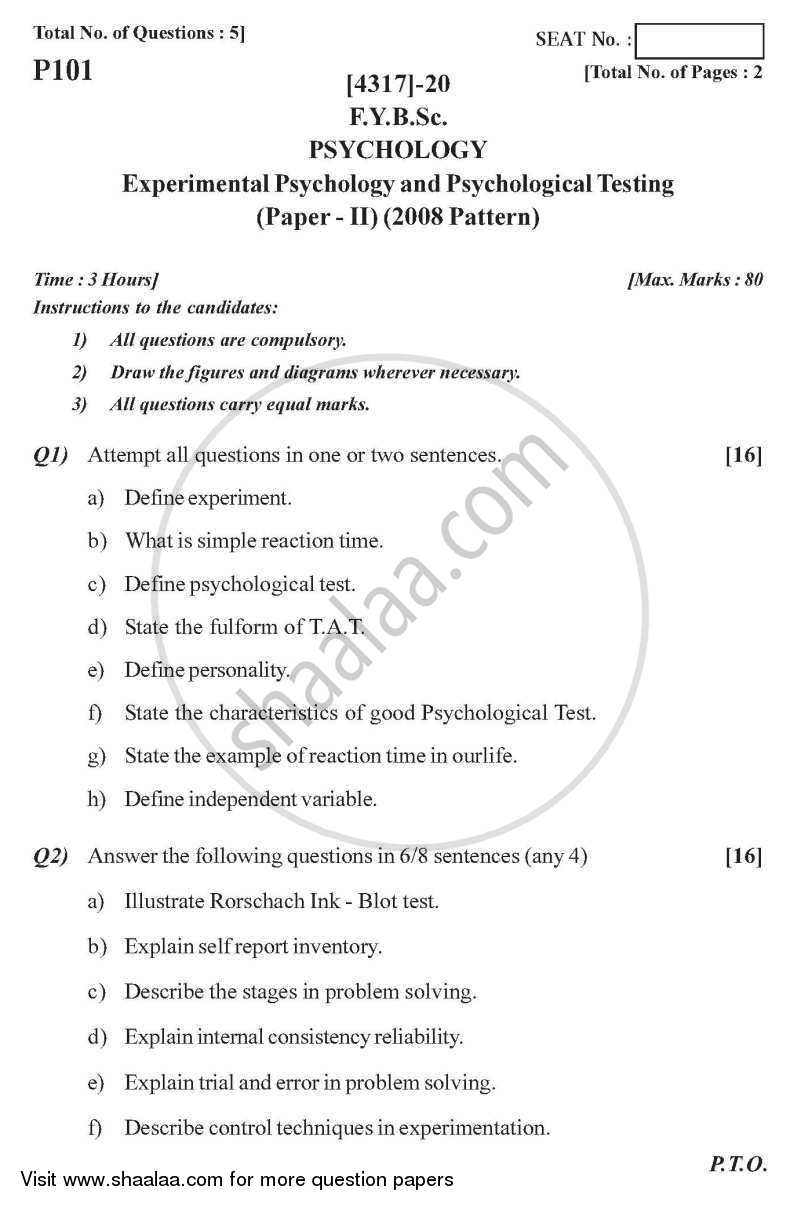 Experimental Psychology and Psychological Testing 2013-2014