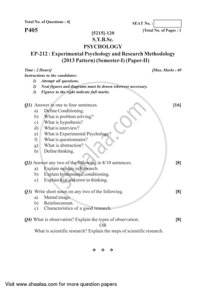 Experimental Psychology and Research Methodology 2017-2018 B Sc