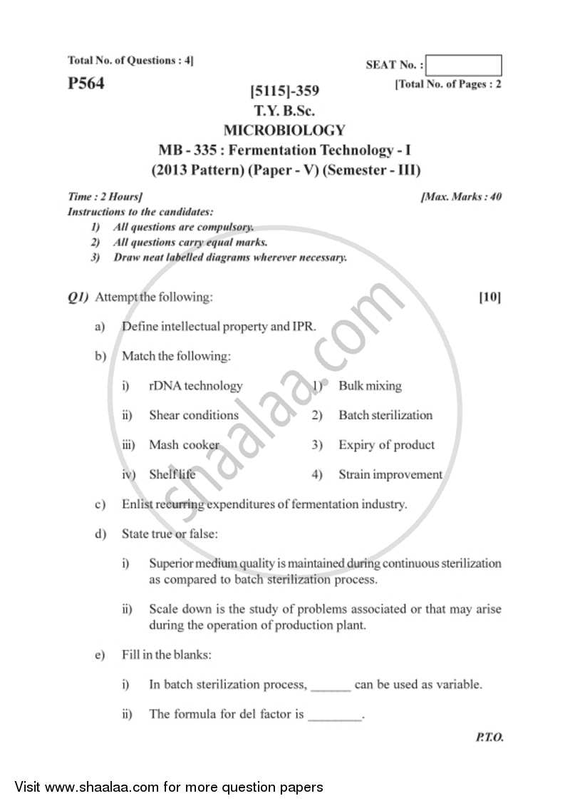 Question Paper - Fermentation Technology 1 2016-2017 - B.Sc. - Semester 5 (TYBSc) - University of Pune with PDF download