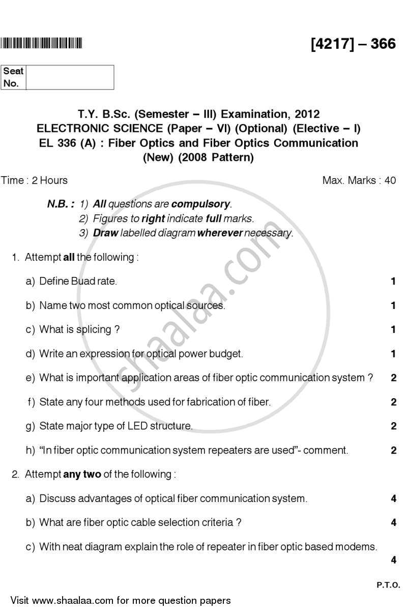 Fiber Optics and Fiber Optic Communication 2012-2013 - B.Sc. - Semester 5 (TYBSc) - University of Pune question paper with PDF download