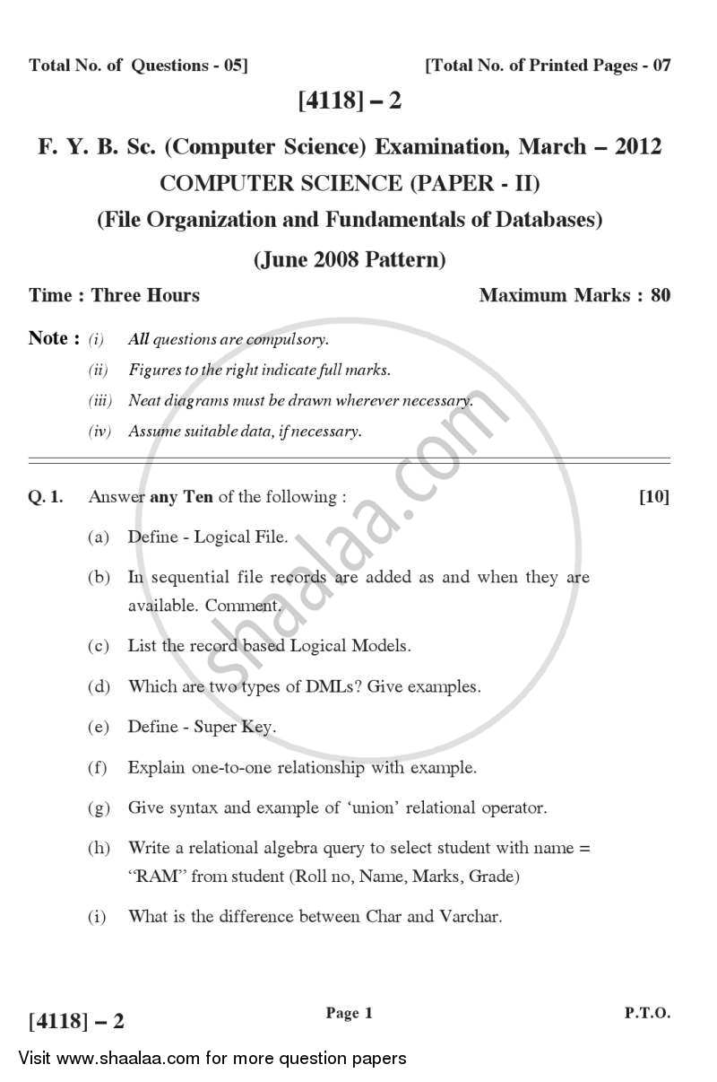Question Paper - File Organization and Fundamental of Databases 2012 - 2013 - B.Sc. - Semester 2 (FYBSc) - University of Pune
