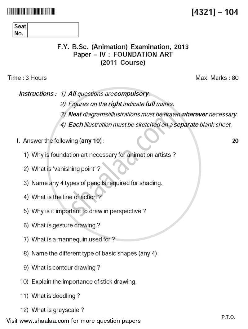 Question Paper - Foundation Art 2013 - 2014 - B.Sc. - Semester 2 (FYBSc) - University of Pune