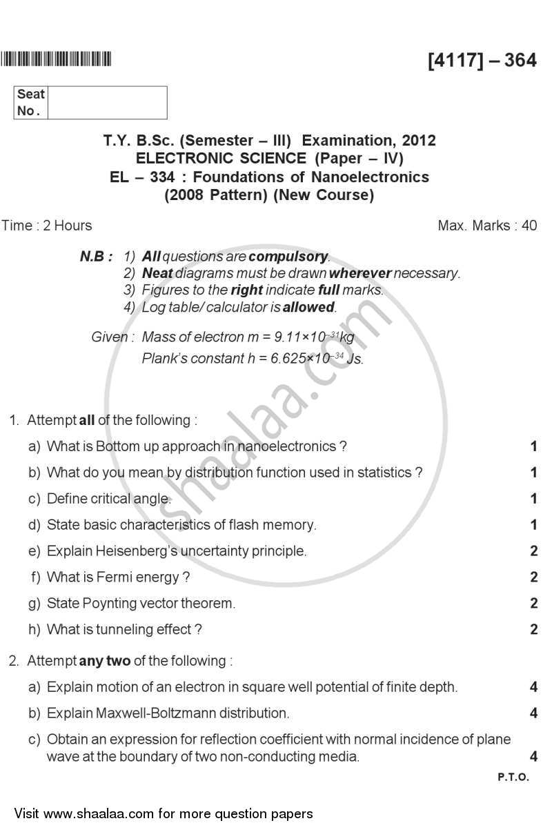 Question Paper - Foundation of Nanoelectronics 2012 - 2013 - B.Sc. - Semester 5 (TYBSc) - University of Pune