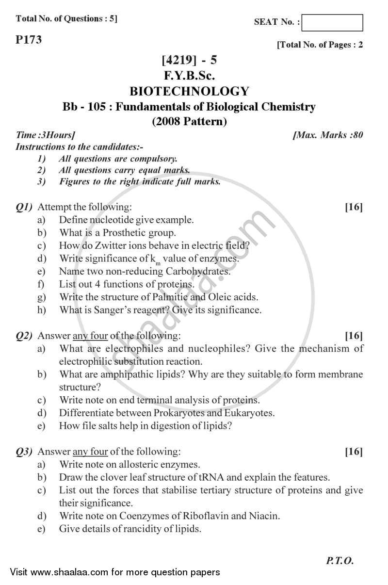 Question Paper - Fundamentals of Biological Chemistry 2012 - 2013 - B.Sc. - Semester 2 (FYBSc) - University of Pune