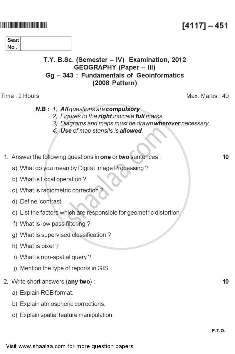 Question Paper - Fundamentals of Geoinformatics 1 2011 - 2012 - B.Sc. - Semester 6 (TYBSc) - University of Pune