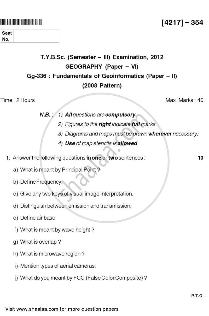 Question Paper - Fundamentals of Geoinformatics 2 2012 - 2013 - B.Sc. - Semester 5 (TYBSc) - University of Pune