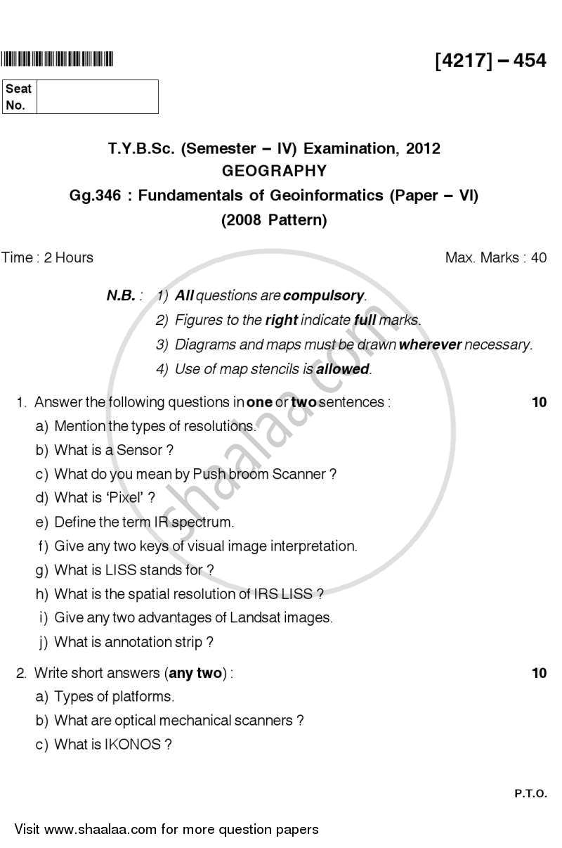 Question Paper - Fundamentals of Geoinformatics 2 2012 - 2013 - B.Sc. - Semester 6 (TYBSc) - University of Pune
