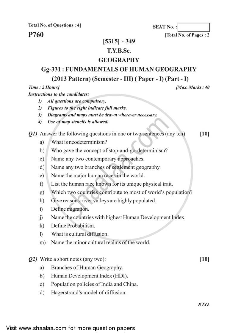 Fundamentals of Human Geography 1 2017-2018 - B.Sc. - Semester 5 (TYBSc) - University of Pune question paper with PDF download