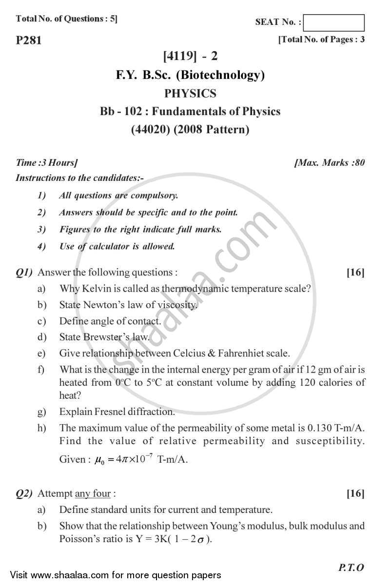 Question Paper - Fundamentals of Physics 2012 - 2013 - B.Sc. - Semester 2 (FYBSc) - University of Pune