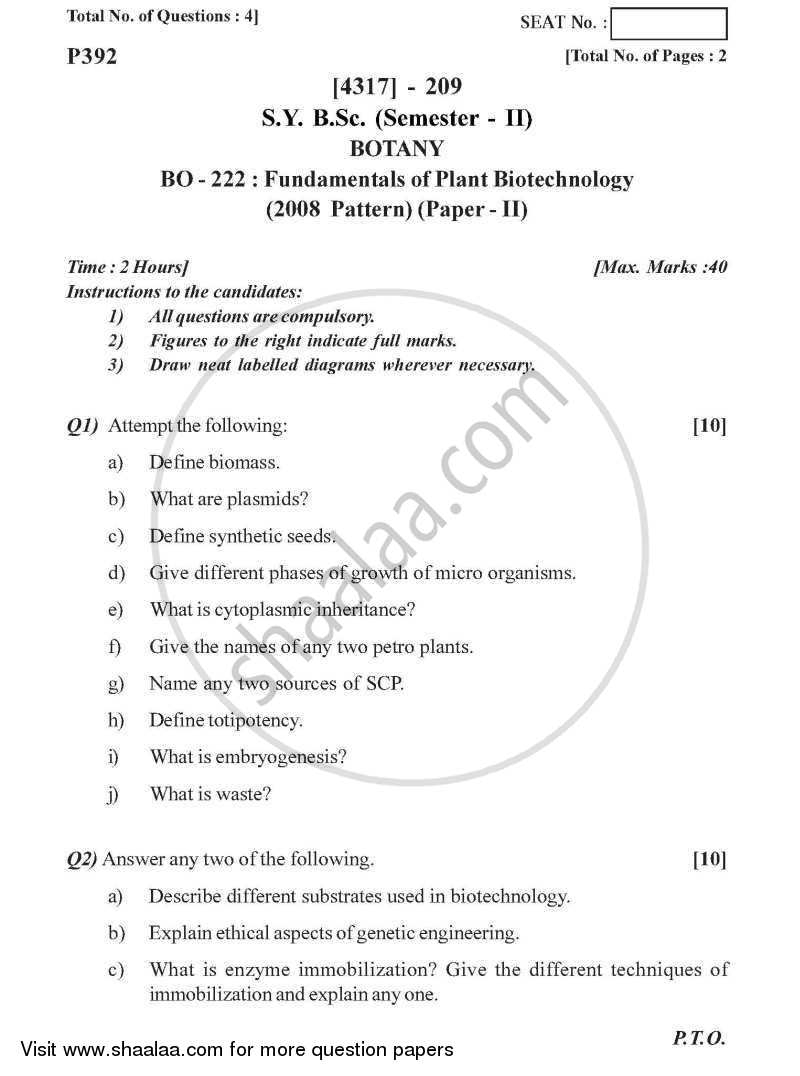 Fundamentals of Plant Biotechnology 2013-2014 - B.Sc. - Semester 4 (SYBSc) - University of Pune question paper with PDF download
