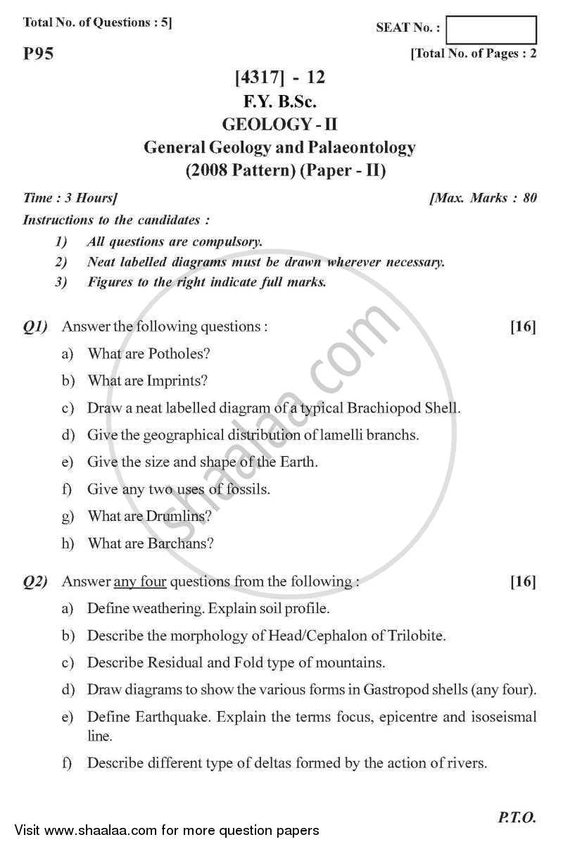 Question Paper - General Geology and Palaeontology 2013 - 2014 - B.Sc. - Semester 2 (FYBSc) - University of Pune