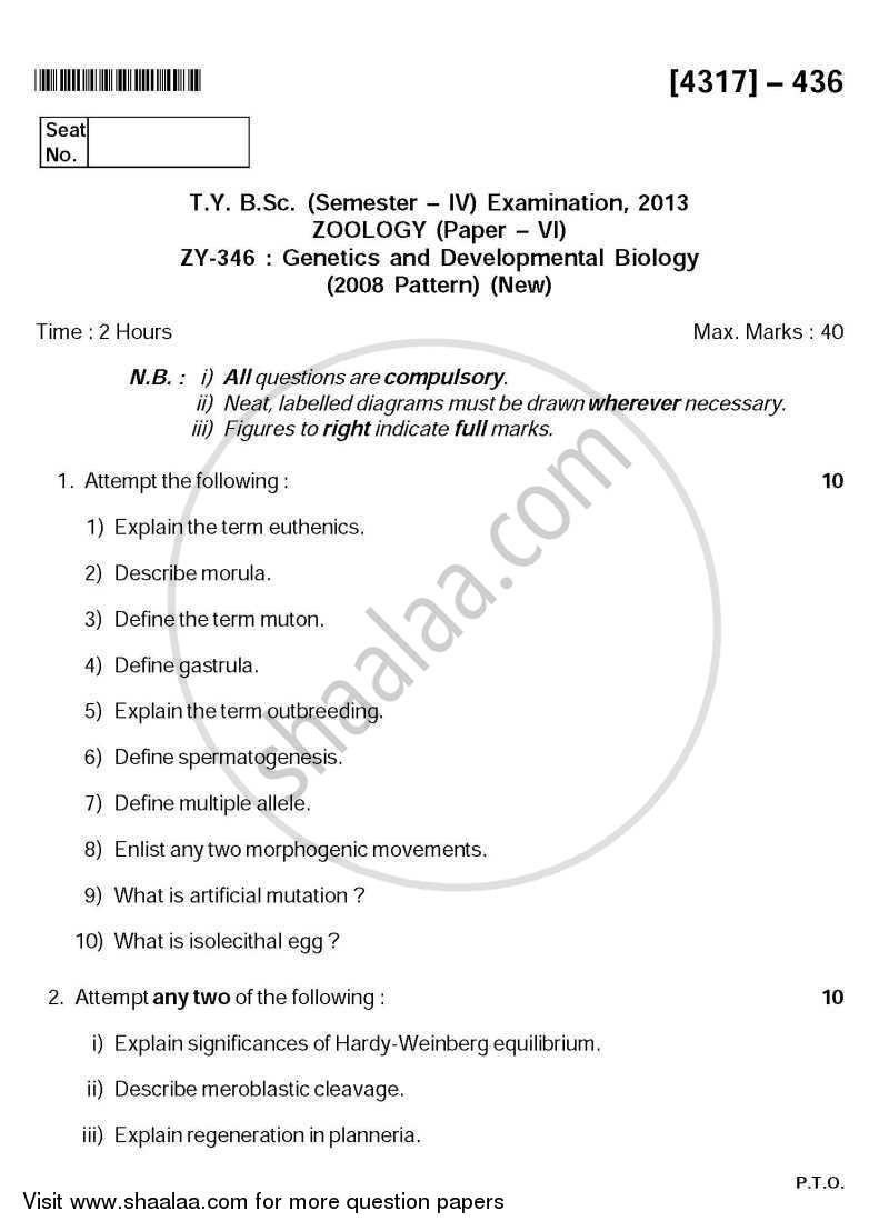 Question Paper - Genetics and Developmental Biology 2013-2014 - B.Sc. - Semester 6 (TYBSc) - University of Pune with PDF download