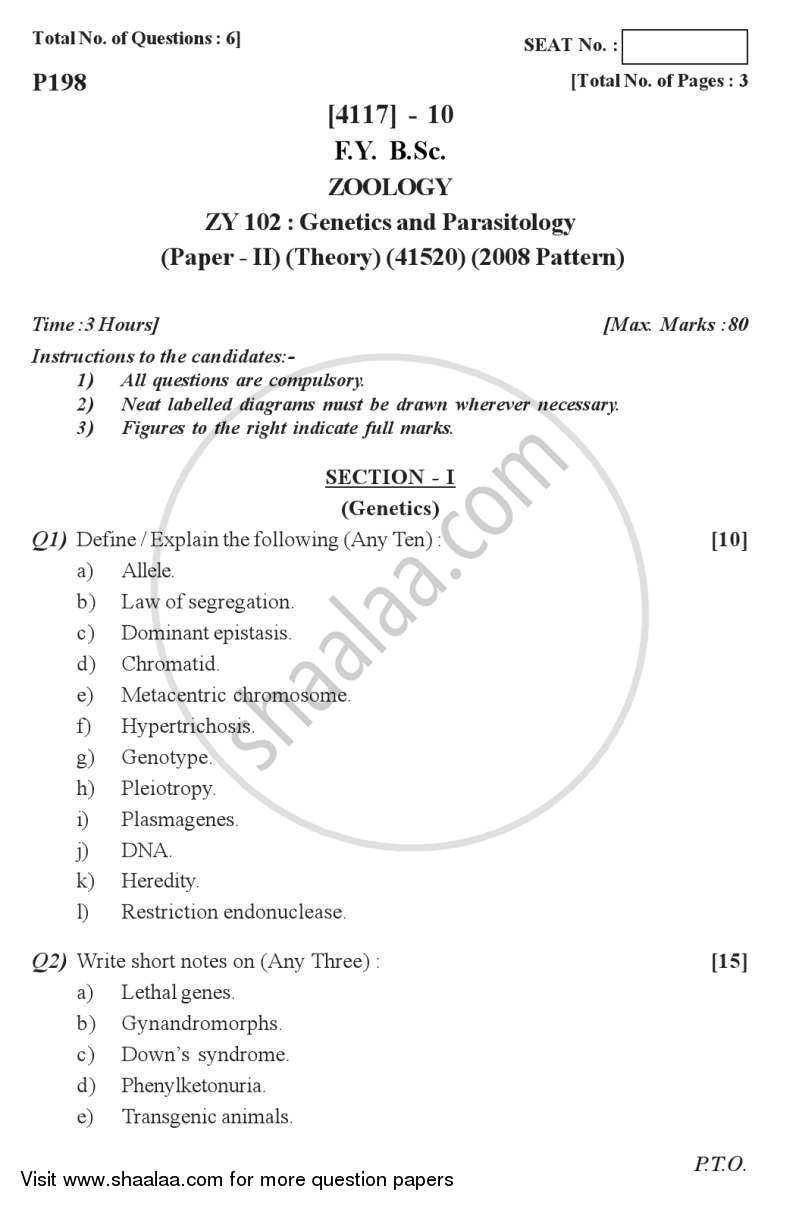 Question Paper - Genetics and Parasitology 2012 - 2013 - B.Sc. - Semester 2 (FYBSc) - University of Pune
