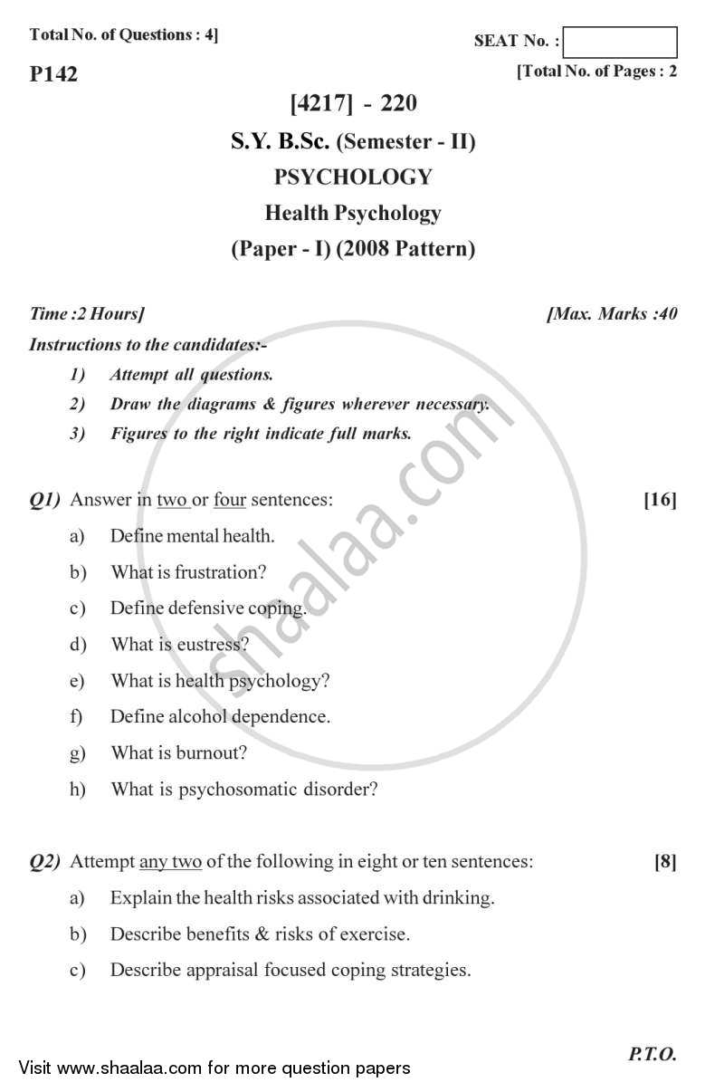 Question Paper - Health Psychology 2012 - 2013 - B.Sc. - Semester 4 (SYBSc) - University of Pune