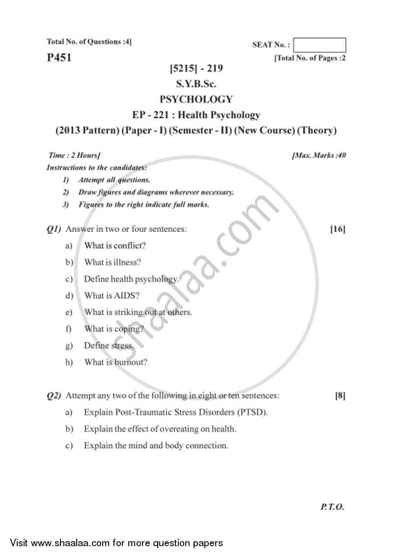 Health Psychology 2017-2018 B Sc Psychology Semester 4 (SYBSc) 2013