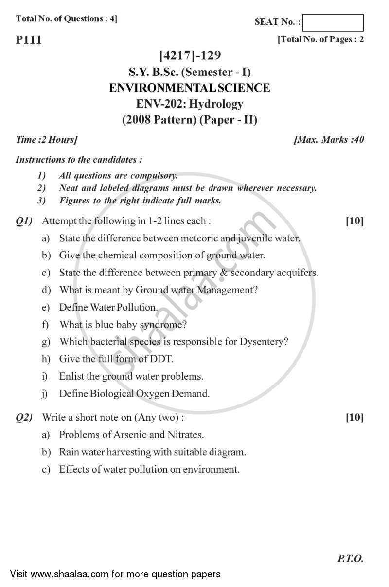 Question Paper - Hydrology 2012 - 2013 - B.Sc. - Semester 3 (SYBSc) - University of Pune