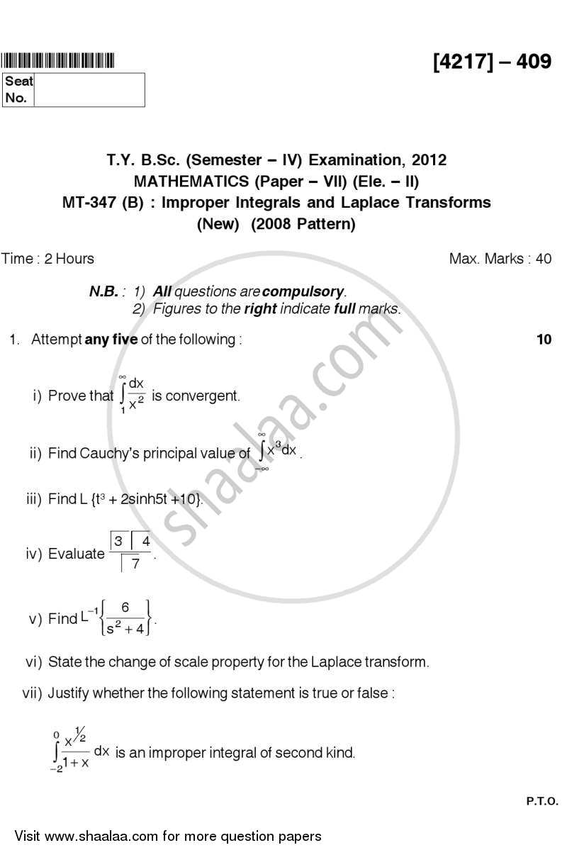 Question Paper - Improper Integrals and Laplace Transforms 2012 - 2013 - B.Sc. - Semester 6 (TYBSc) - University of Pune