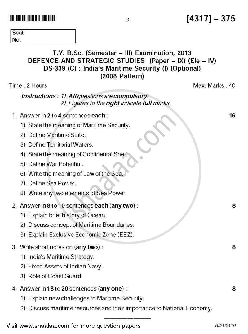 Question Paper - India's Maritime Security 1 2013 - 2014 - B.Sc. - Semester 5 (TYBSc) - University of Pune