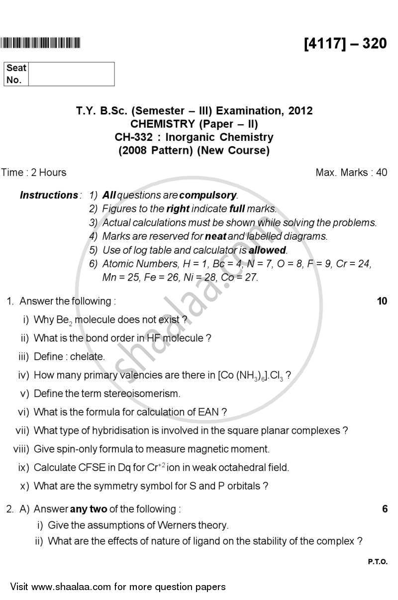 Question Paper - Inorganic Chemistry 2012 - 2013 - B.Sc. - Semester 5 (TYBSc) - University of Pune