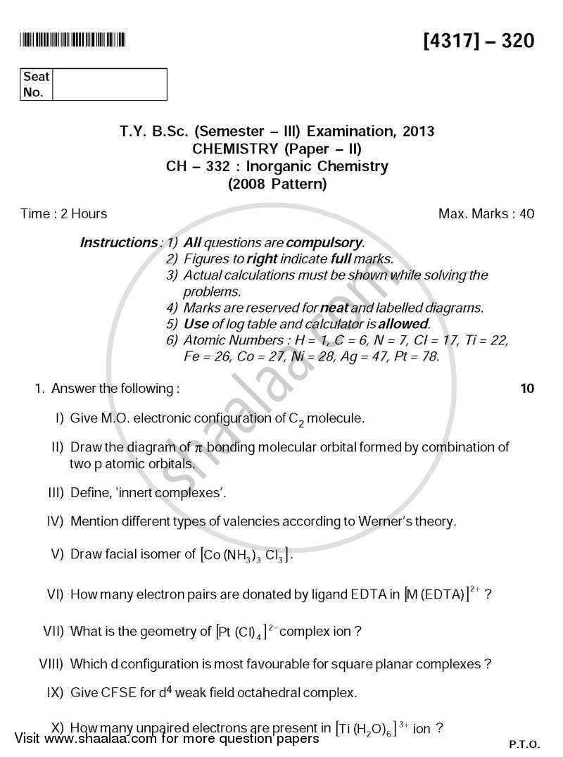 question paper inorganic chemistry b sc question paper inorganic chemistry 2013 2014 b sc semester 5