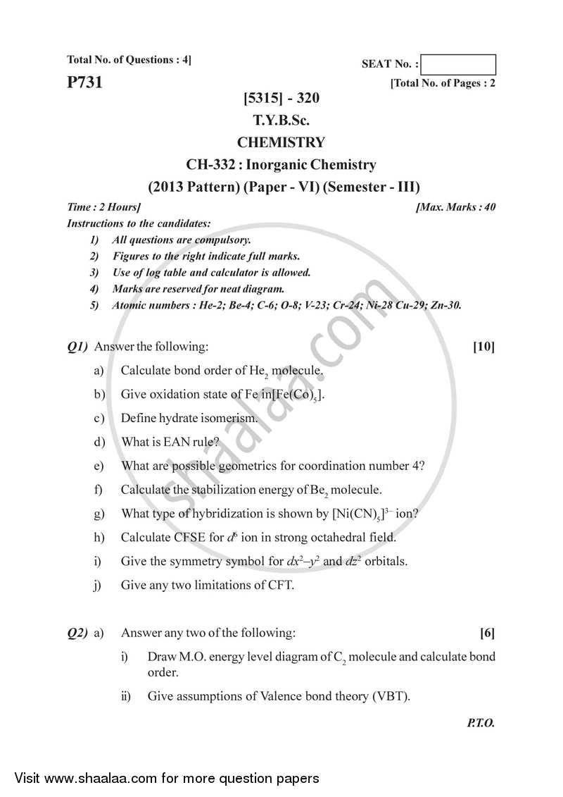 Inorganic Chemistry 2017-2018 B Sc Chemistry Semester 5