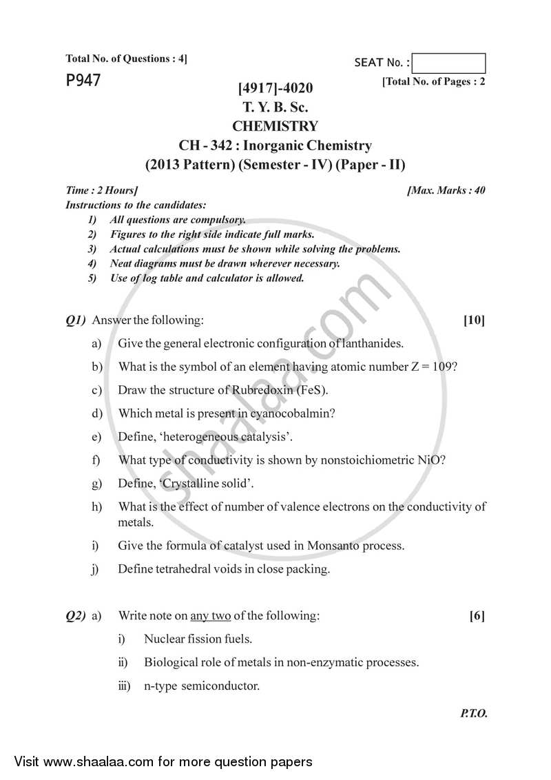 Inorganic Chemistry 2015-2016 - B.Sc. - Semester 6 (TYBSc) - University of Pune question paper with PDF download