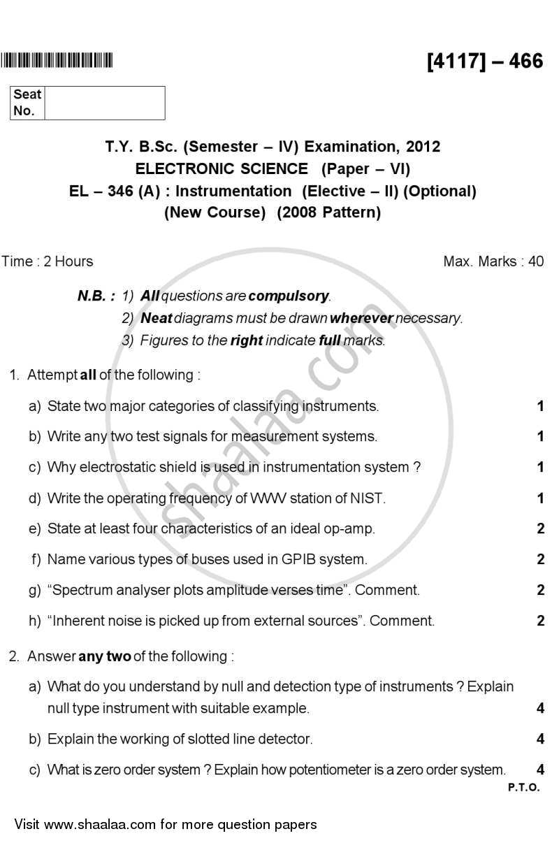 Question Paper - Instrumentation 2012 - 2013 - B.Sc. - Semester 6 (TYBSc) - University of Pune