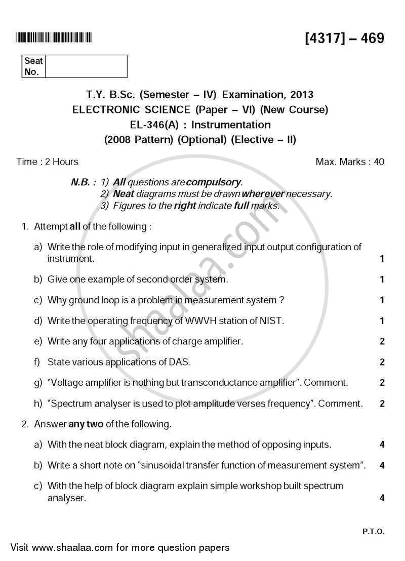 Question Paper - Instrumentation 2013 - 2014 - B.Sc. - Semester 6 (TYBSc) - University of Pune
