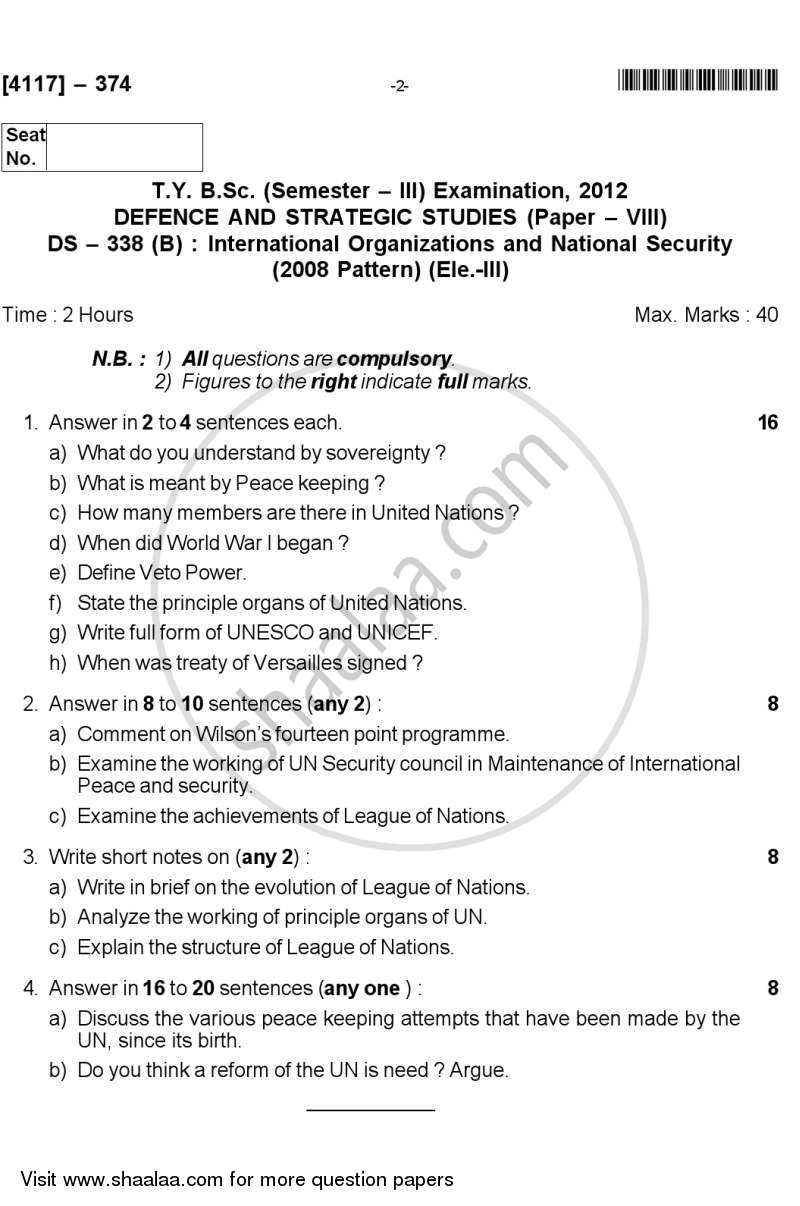 International Organisation and National Security 2012-2013 - B.Sc. - Semester 5 (TYBSc) - University of Pune question paper with PDF download