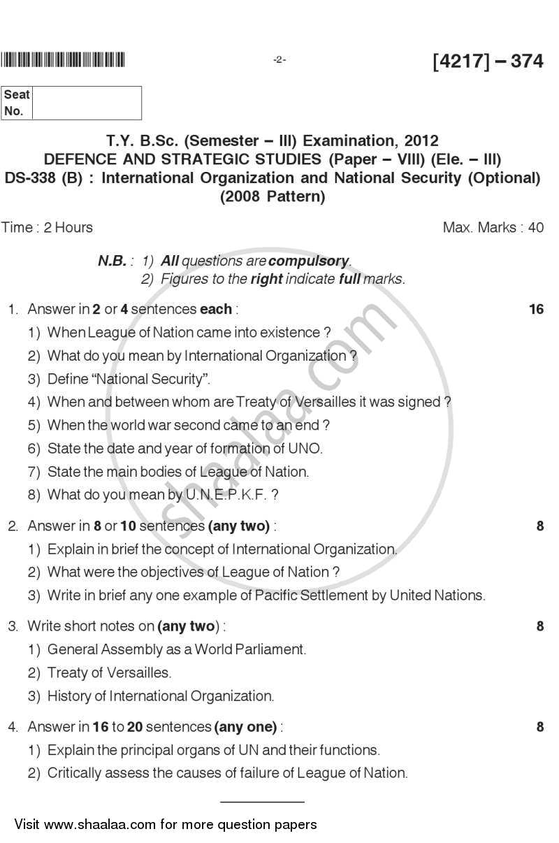 Question Paper - International Organisation and National Security 2012 - 2013 - B.Sc. - Semester 5 (TYBSc) - University of Pune