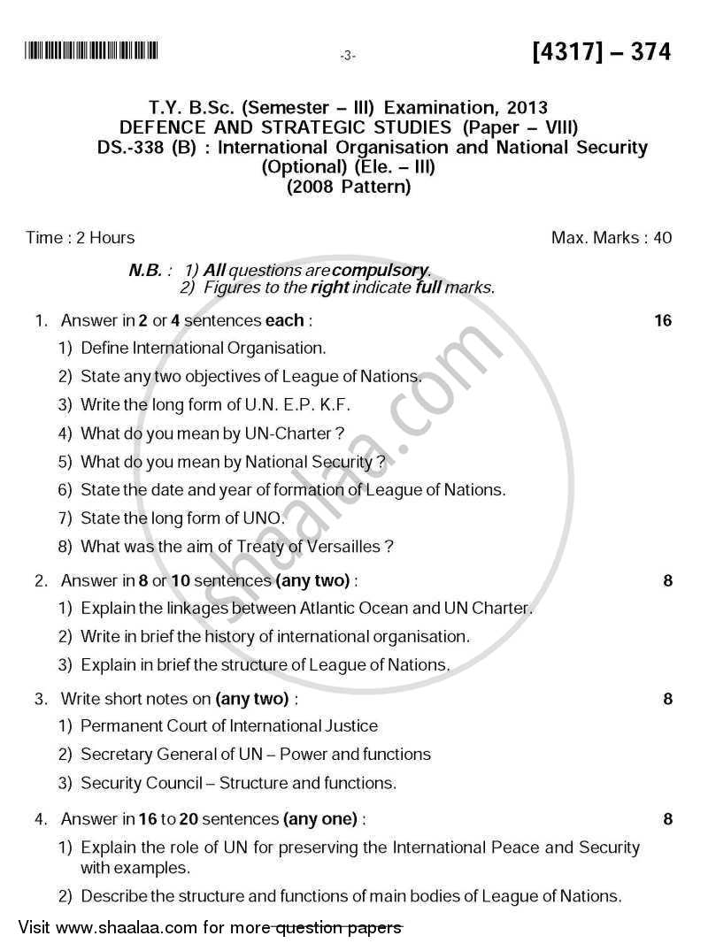 International Organisation and National Security 2013-2014 - B.Sc. - Semester 5 (TYBSc) - University of Pune question paper with PDF download